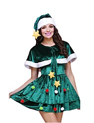 baratos -Chapéu de natal Vestido de Natal Mulheres Natal Festival / Celebração Trajes da Noite das Bruxas Verde Escuro Natal Natal