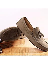 Feminino Sapatos Pele Real Primavera Outono Conforto Mocassins e Slip-Ons Raso Ponta Redonda para Casual Preto Cinzento Azul Khaki