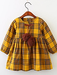 cheap -Girl's Daily Going out Solid Grid/Plaid Dress,Cotton Spring Fall Long Sleeves Cute Casual Active Yellow