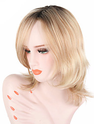 cheap -Synthetic Wig Wavy With Bangs Natural Hairline Blonde Women's Capless Halloween Wig Celebrity Wig Party Wig Lolita Wig Natural Wigs