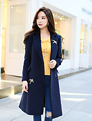 cheap -DABUWAWA Women's Casual/Daily Work Simple Street chic Winter Coat,Solid Print Peaked Lapel Long Sleeve Long Wool Polyester Embroidered