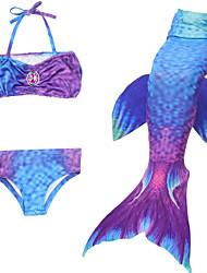 お買い得  -子供 女の子 プリント / カートゥン ナイロン 水着 ブルー