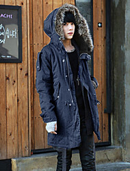 cheap -Men's Casual/Daily Simple Winter Parka,Solid Hooded Long Sleeves Long Others