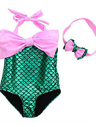 cheap -The Little Mermaid Bikini Swimwear Kid's Christmas Masquerade Festival / Holiday Halloween Costumes Purple Blue Pink Color Block One
