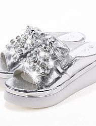 cheap -Women's Shoes PU Summer Comfort Slippers & Flip-Flops Wedge Heel Round Toe Rhinestone for Casual Gold Silver