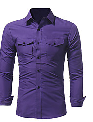 cheap -Men's Casual/Daily Vintage Shirt,Floral Shirt Collar Long Sleeve Cotton