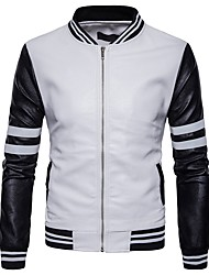 cheap -Men's Casual/Daily Street chic Winter Fall Leather Jacket,Striped Stand Long Sleeve Regular Others Patchwork