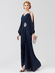 cheap -A-Line V Neck Asymmetrical Chiffon Mother of the Bride Dress with Beading Sash / Ribbon Pleats by LAN TING BRIDE®