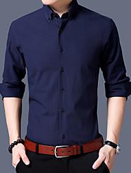 Masculino Camisa Social Casual Temática Asiática Sólido Algodão Colarinho de Camisa Manga Comprida