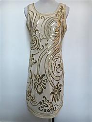 Gatsby Costume Féminin Robe à clapet Costume de Soirée Noir Beige Vintage Cosplay Polyester Sans Manches Courte / Mini