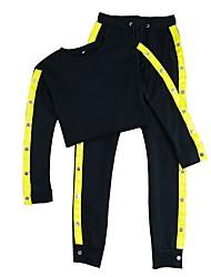 preiswerte -Damen Laufshirt mit Laufhose Langarm Fitness Trainingsanzug für Fitness / Laufen Baumwolle, Kunstseide Schwarz S / M / L