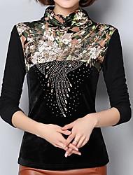 baratos -Mulheres Polo Vintage Sólido Floral Fibra Sintética Elastano Colarinho Chinês