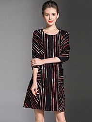 cheap -Women's Casual/Daily Simple Loose Dress,Striped Round Neck Knee-length Long Sleeve Cotton Fall Mid Rise Micro-elastic Opaque