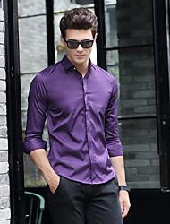 Masculino Camisa Social Para Noite Casual Moda de Rua Inverno Outono,Sólido Poliéster Colarinho de Camisa Manga Comprida Média