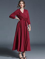 abordables -Femme Sortie Ample Robe Couleur Pleine Taille Haute Col en V Maxi