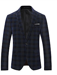 cheap -Men's Daily Wear Simple Fall Regular Suits, Solid Round Neck Cotton Acrylic Others