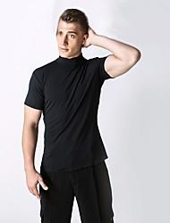 cheap -Latin Dance Tops Men's Performance Spandex Ruffles Short Sleeve Natural Top