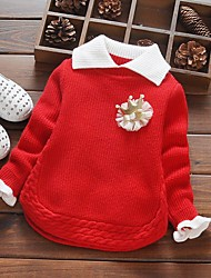 cheap -Girls' Solid Sweater & Cardigan,Acrylic Winter Long Sleeve Simple Red