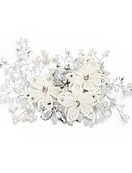 cheap -Crystal Rhinestone Flowers Hair Pin with Crystal Faux Pearl Lace 1pc Wedding Special Occasion Headpiece