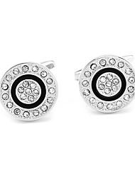 baratos -Formato Circular Prata Botões de Punho Imitações de Diamante / Liga Roupas de Festa Homens Jóias de fantasia Para Diário / Formal