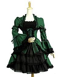cheap -Gothic Lolita Dress Vintage / Punk / Elegant Women's / Girls' Dress Cosplay Green Puff / Balloon Sleeve Short Sleeve Knee Length