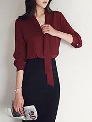 preiswerte -Damen Solide Arbeit Hemd, V-Ausschnitt Baumwolle Polyester