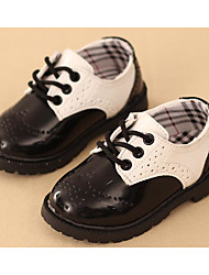 cheap -Boys' Shoes Leatherette Spring Fall Comfort Oxfords Walking Shoes Lace-up for Casual Black Black/White