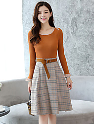 cheap -Women's Daily Work Vintage Casual Spring Fall Sweater Skirt Suits,Solid Check Round Neck Long Sleeve Cotton Polyester Stretchy