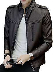 cheap -Men's Daily Going out Casual Winter Fall Leather JacketSolid Stand Long Sleeve Regular PU