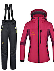 Women's Hiking Jacket with Pants Outdoor Winter Waterproof Thermal / Warm Windproof Fleece Pants / Trousers 3-in-1 Jacket Winter Jacket