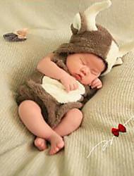 Baby Unisex Tøjsæt Daglig Geometrisk,Bomuld Alle årstider Uden ærmer Simple Brun