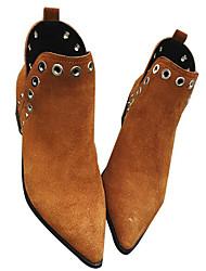Damer Sko Nubuck Læder Læder Forår Efterår Komfort Modestøvler Støvler Kraftige Hæle Ankelstøvler for Afslappet Sort Brun