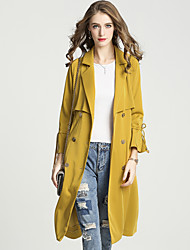 cheap -Women's Work Vintage Sophisticated Trench Coat-Solid Colored