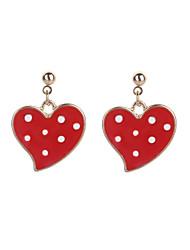 cheap -Women's Heart One-piece Suit Stud Earrings - Metallic / Cartoon / Fashion Red Earrings For Daily / Formal