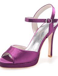 preiswerte -Damen Schuhe Satin Frühling Sommer Pumps Sandalen Null Stöckelabsatz Offene Spitze Null Schnalle für Kleid Party & Festivität Weiß Purpur
