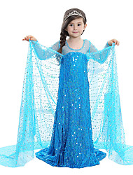 abordables -Princesse Conte de Fée Elsa Robes Fille Enfant Robes Noël Mascarade Fête / Célébration Tenue Bleu Paillette Adorable