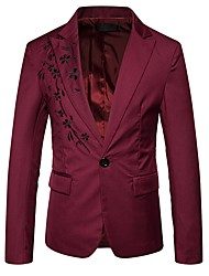 cheap -Men's Daily Street chic Winter Regular Blazer, Color Block Shirt Collar Polyester