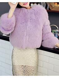 Недорогие -Жен. Пальто с мехом V-образный вырез Однотонный Искусственный мех Меховая оторочка