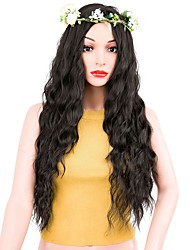 cheap -Synthetic Hair Wigs Water Wave Middle Part Layered Haircut Capless Natural Wigs Long Black
