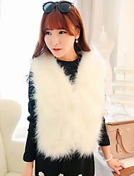 cheap -Women's Vintage Cute Active Faux Fur Vest-Solid Colored