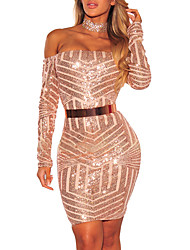 cheap -Women's Party / Club Bodycon Dress - Color Block Backless High Waist Boat Neck / Spring / Fall / Choker / Sequin