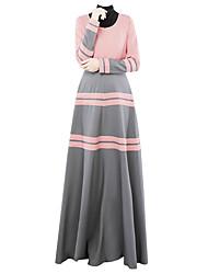 abordables -Ethnique et Religieux Jalabiya Abaya Robe Arabe Femme Fête / Célébration Déguisement d'Halloween Jaune Bleu Rose Couleur Pleine Style