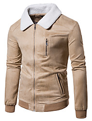 cheap -Men's Daily Casual Winter Fall Jacket,Solid V Neck Long Sleeve Regular Cotton