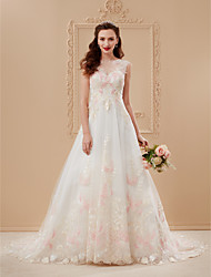 cheap -A-Line / Princess Illusion Neck Court Train Lace / Tulle Custom Wedding Dresses with Appliques by LAN TING BRIDE®