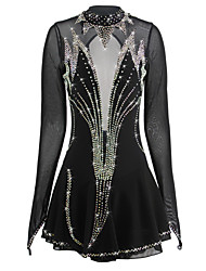 cheap -Figure Skating Dress Women's Girls' Ice Skating Dress Black Spandex Rhinestone High Elasticity Performance Skating Wear Handmade Ice