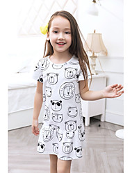 cheap -Girl's Casual/Daily Patterned Dress,Polyester Spring Summer Short Sleeves Simple White
