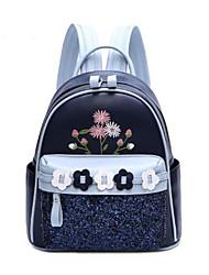 Недорогие -Жен. Мешки Полиуретан рюкзак Цветы Молнии для Повседневные Все сезоны Темно-синий