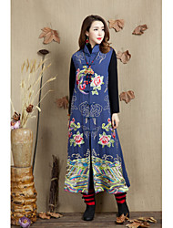 cheap -Women's Daily Vintage Fall Vest,Print Stand Long Sleeve Long Cotton Polyester