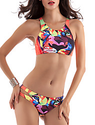 cheap -Women's Print Sexy Strap Tankini Swimwear,Polyester Orange
