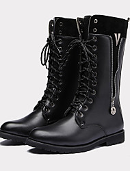 cheap -Men's Shoes PU Spring Fall Novelty Fashion Boots Combat Boots Boots Mid-Calf Boots for Athletic Outdoor Black